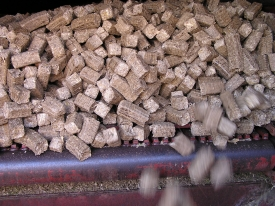 Corn Stover Cubes from Baled Biomass Material