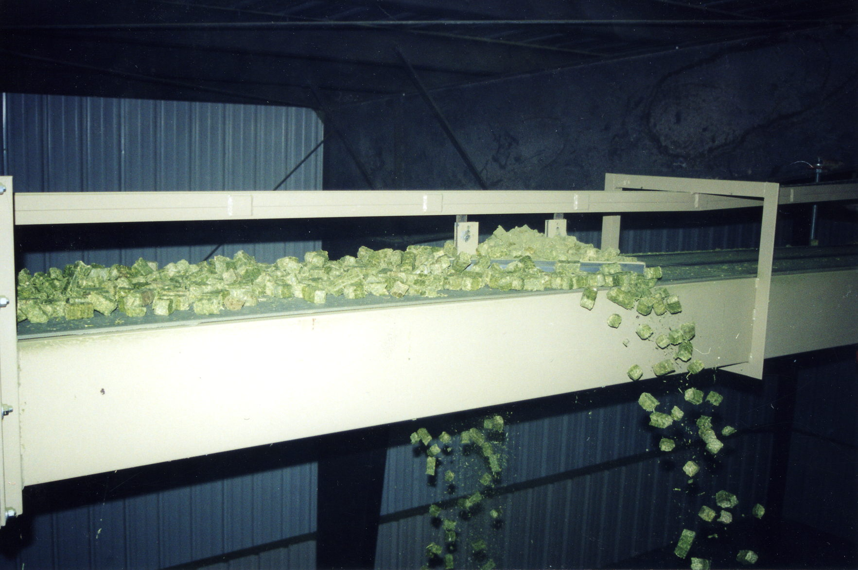Overhead Conveyor conveyring ground or cubed biomass materials